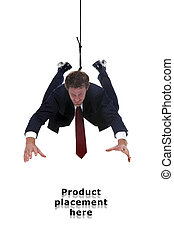 Businessman hanging by a rope for product placement -...