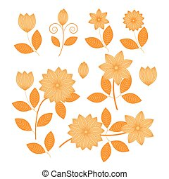 Floral pattern with flowers and leaves vector,eps10
