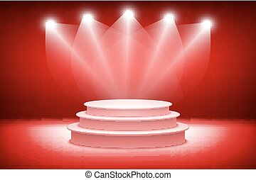 3d theatrical background. scene and red curtains. red podium on a background of red drape curtains. vector