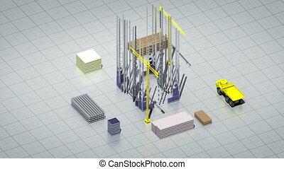 Construction building, crane.