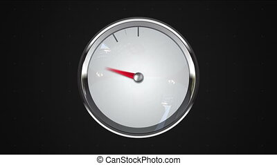Indicated one o'clock point. gauge or watch animation.