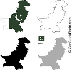 Pakistan country black silhouette and with flag on...