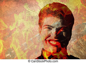 man in flames with evil grin - Man with devilish grin in...