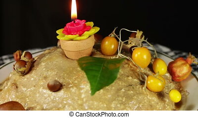 Homemade Cake on the Table Rotates on a Black Background -...