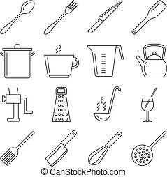 Cooking and kitchen tools line vector icons Icon utensil...