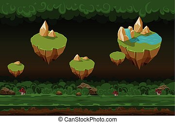 Night forest game background, seamless cartoon landscapes with rock islands