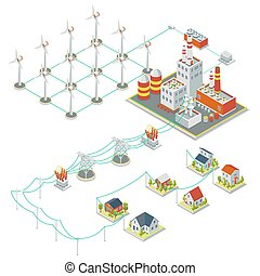 Windmil turbine power 3D isometric clean energy concept...