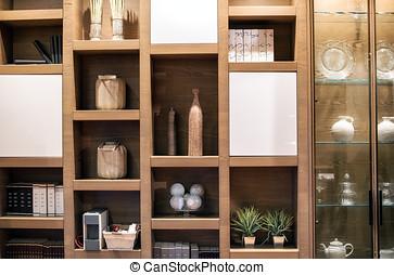 de madera, interior, pared, unidad, con, Ornamentos,