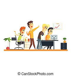 Office Team Chering Flat Vector Graphic Geometric Style...