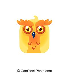 Yellow Owl Chick Square Icon Colorful Bright Childish...