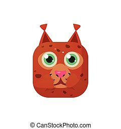 Lynx Square Icon Colorful Bright Childish Cartoon Style Icon...
