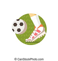 Football Round Sticker In Minimalistic Bright Colorful Flat...