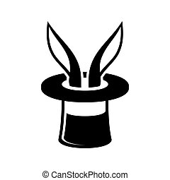 Magic Trick Rabbit in Wizard Hat Icon Vector Illustration