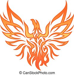 Fire Eagle Tattoo - Flame phoenix silhouette.