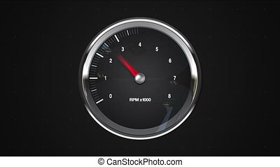 Indicated 5 point of RPM gauge animationincluded alpha