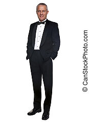 Mature man in tuxedo and black tie - A mature male wearing a...