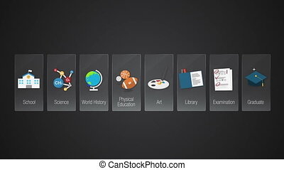 Education icon set animation - Digital display application....
