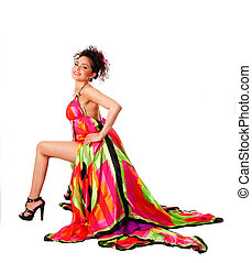 Fashion woman in colorful dress