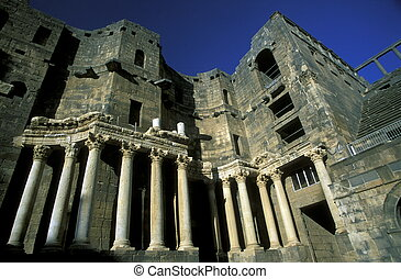 MIDDLE EAST SYRIA BOSRA RUINS - the ruins in the town of...