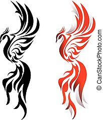 Phoenix fire bird in monochrome and color