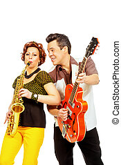 guitarist and saxophonist - Guitarist and saxophonist duo in...