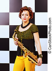 golden saxophone - Beautiful saxophone player in retro style...
