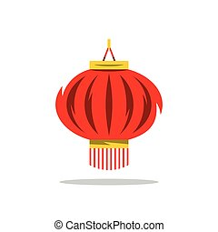 Vector Chinese Red Lantern Cartoon Illustration. -...