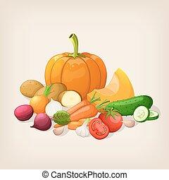 Harvest juicy and ripe vegetables. Vector illustration.