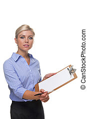 Woman holding a customer survey clipboard cut out.