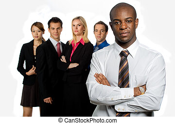 Group of Professionals - An attractive african american...