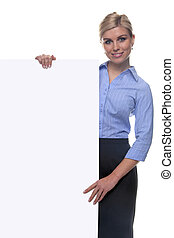 Blond woman holding a blank message board.