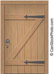 Old wooden door. Closed door, made of wooden planks, with...