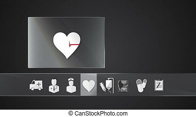 Vital sign icon for Health Care - Technology medical care...