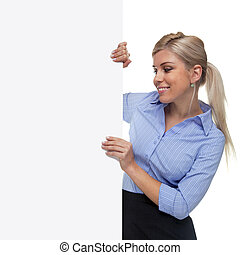 Blond woman holding the side of a blank sign board.