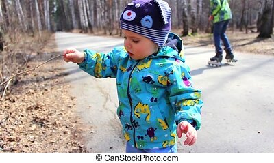 child walking outdoors in park
