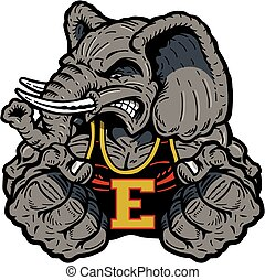elephant mascot - strong elephant mascot design for school,...