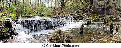 Panoramic image of a waterfall on the river