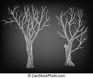 Trees  - Two hand drawn bare trees on chalkboard background.