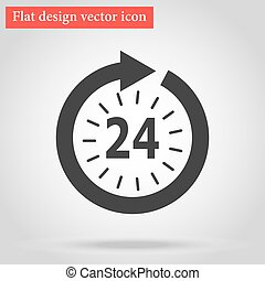 Icon watch timetable 24 hours round gray flat design with...