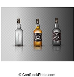 Glass brandy  bottle with screw cap, isolated on white background.