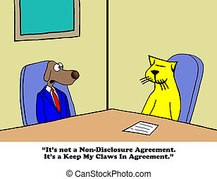 Negotiation - Business cartoon about a conflict agreement.