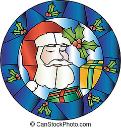 Christmas stained glass decoration with Santa - Christmas...
