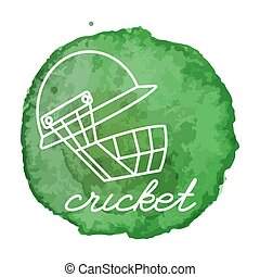 Cricket game icon on watercolor blot - Cricket helmet white...
