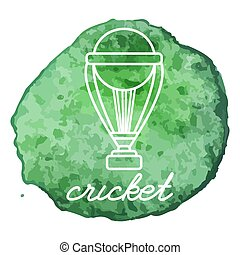Cricket game icon on watercolor blot - Cricket Trophy white...