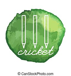 Cricket game icon on watercolor blot - Cricket stumps white...