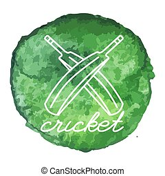 Cricket game icon on watercolor blot - Cricket bats white...