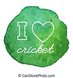Cricket game icon on watercolor blot - I love cricket, heart...