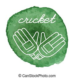 Cricket game icon on watercolor blot - Cricket gloves white...