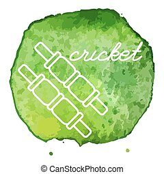 Cricket game icon on watercolor blot - Cricket bails white...