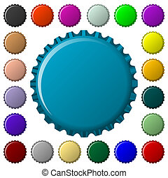 bottle caps in colors collection, abstract art illustration